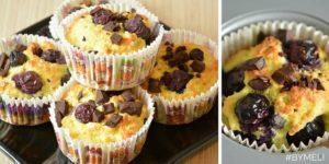 Muffin al cioccolato e mirtilli